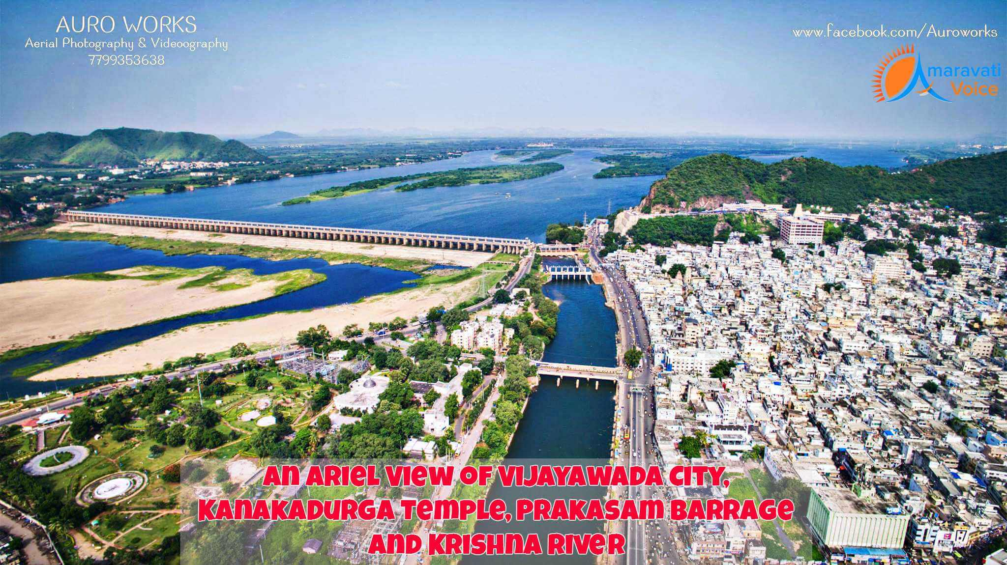 Ariel View of Vijayawada City, Kanaka Durga Temple, Prakasam Barrage