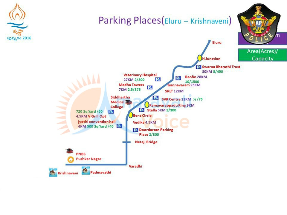 parking places from eluru to krishnaveni ghat