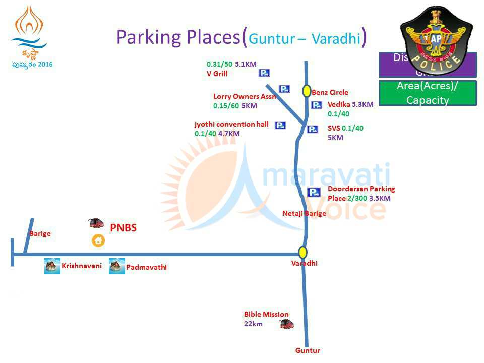 parking places from guntur to varadhi