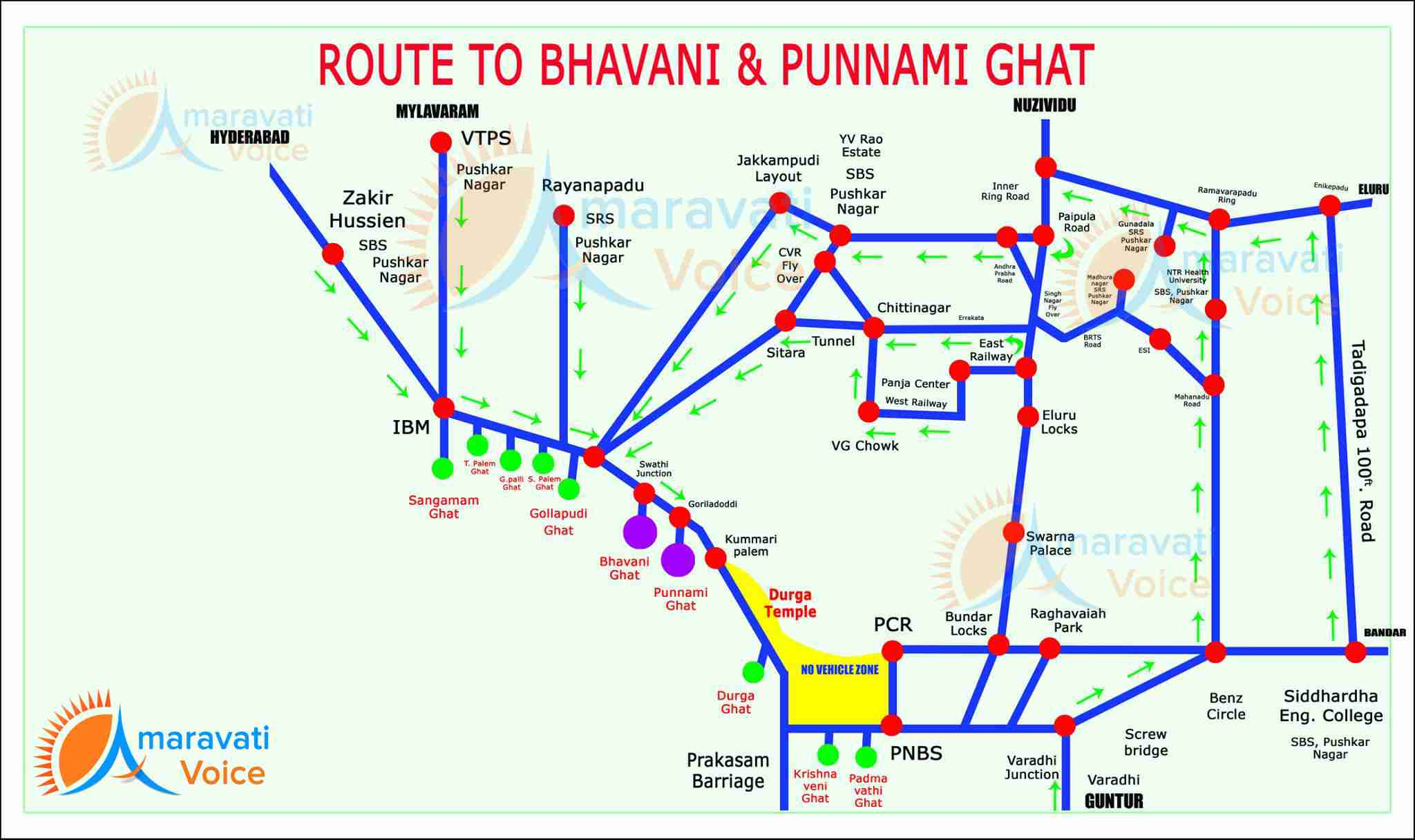 route map to bhavani punnami ghat 08092016