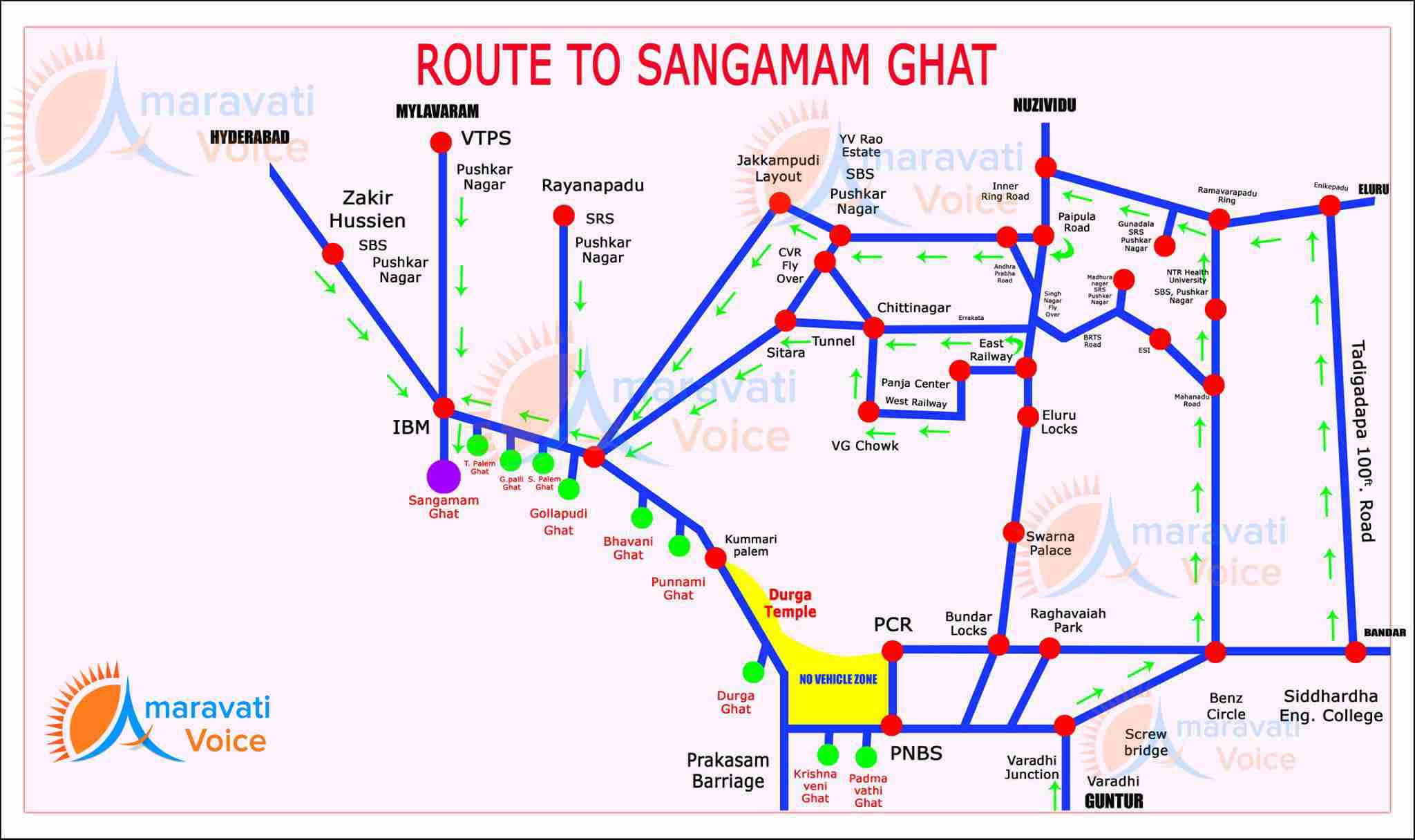 route map to sangamam ghat 08092016