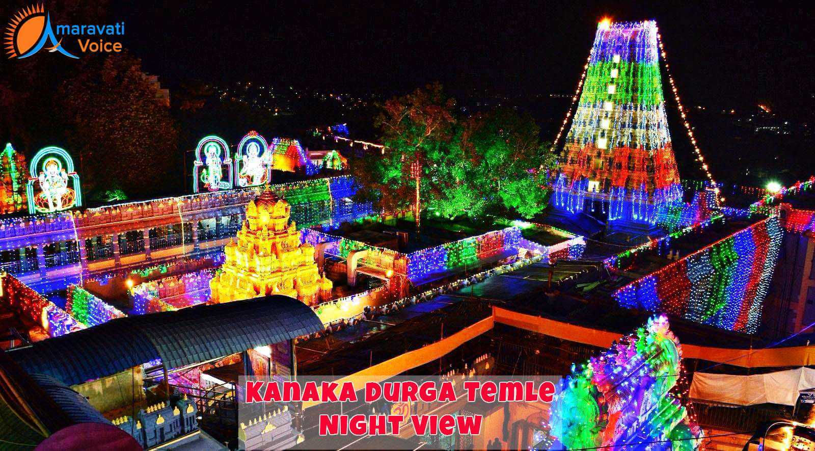 Kanaka Durga Temple Illuminated on Dasara Night