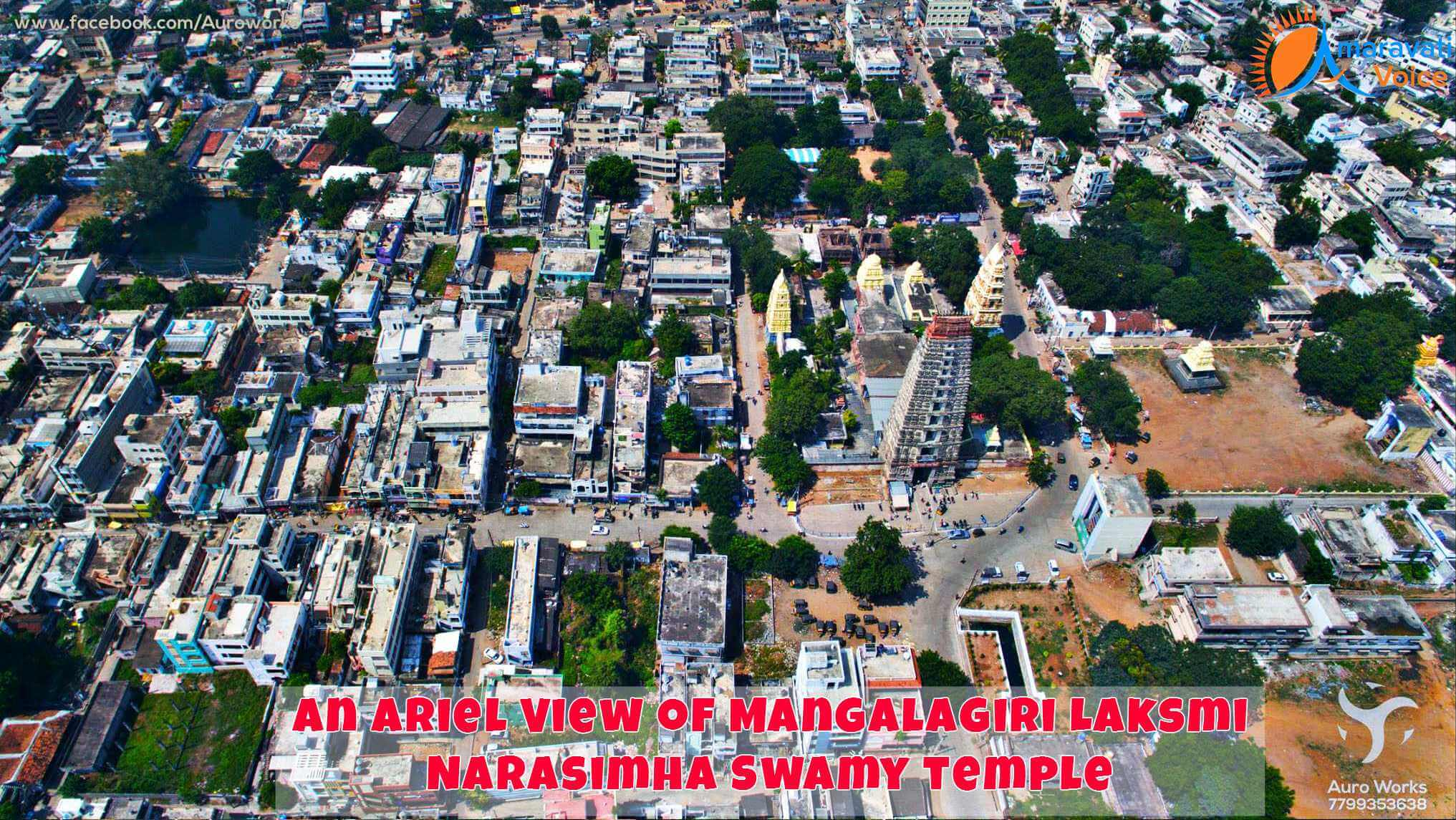 An Ariel View of Lakshmi Narashimha Swamy Temple in Mangalagiri