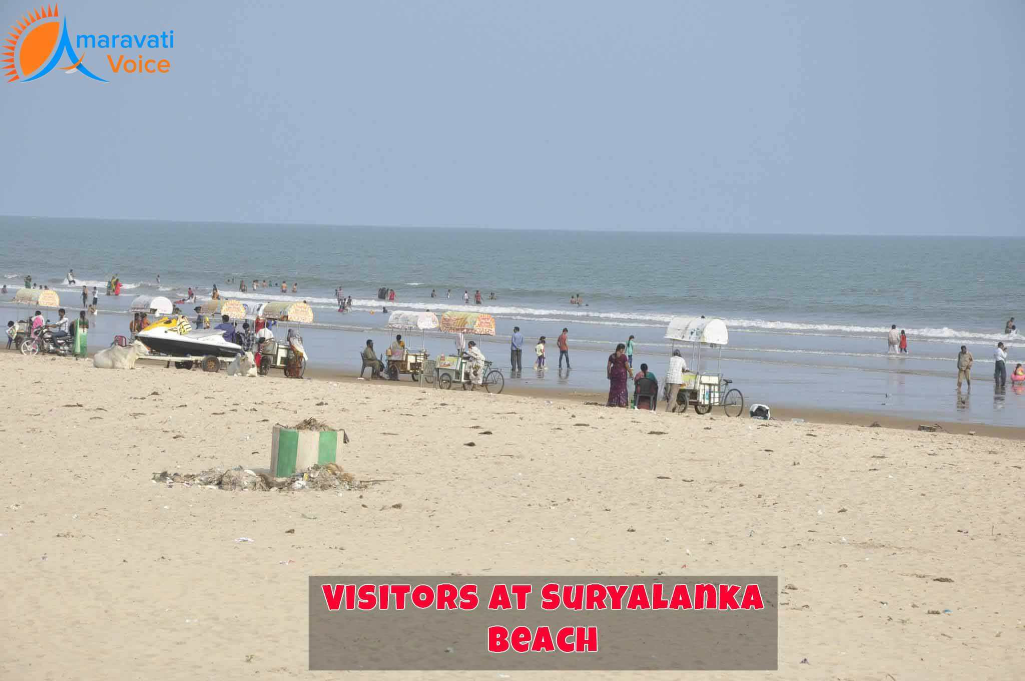Visitors Enjoying at Suryalanka Beach